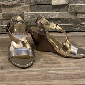 Kenneth Cole gold,silver, and bronze wedge sandal